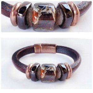 Distressed Chunky Brown Leather Cuff Bracelet